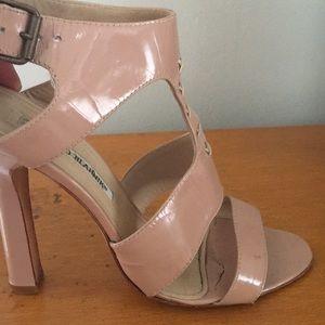 "Manolo Blahnik nude patent 4.5"" high heel sandal"